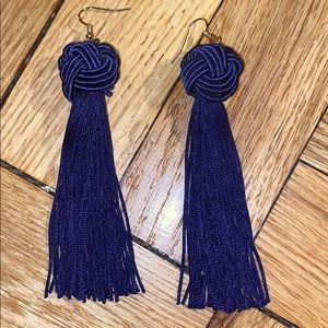 Forever 21 blue tassel earrings